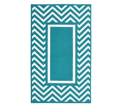 Chevron Frame College Rug Teal And White Dorm Area