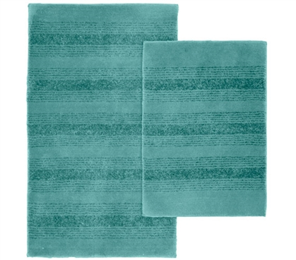 Pin Stripe Bath Mat Set - Teal (2 Piece Set) Dorm Room Decor Dorm Room Decorations for Suite Style Dorm Rooms