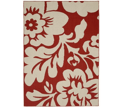 Floral Garden Dorm Rug - Coral and Ivory 5' x 7' Dorm Essentials Dorm Room Decorations Dorm Room Decor