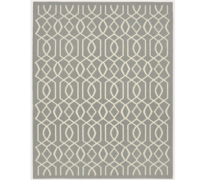 Fretwork Dorm Rug - Silver and Ivory Dorm Essentials Dorm Necessities College Supplies