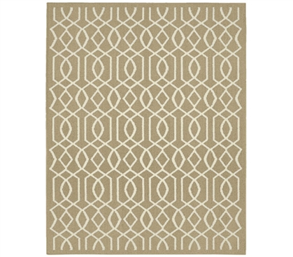 Fretwork Dorm Rug - Tan and Ivory Dorm Essentials College Supplies Must Have Dorm Items