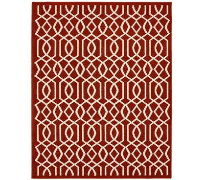 Fretwork Dorm Rug - Crimson and Ivory College Rug Dorm Essentials