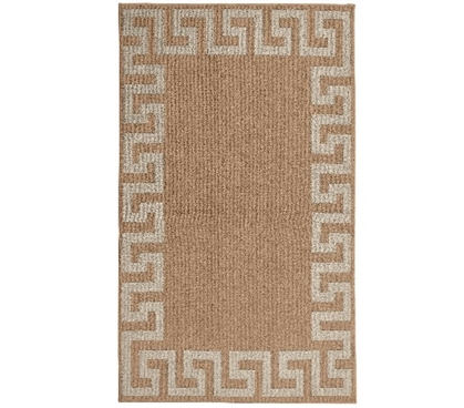 Greek Key Frame College Rug - Acorn and Tan Rugs for Dorms Dorm Room Decor