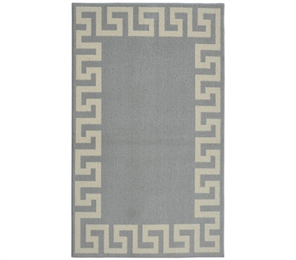 Modern Dorm Rugs - Greek Key Frame College Rug - Silver and Ivory