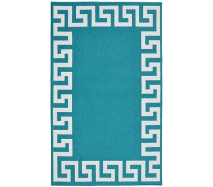 Fun Dorm Decor - Greek Key Frame College Rug - Teal and White