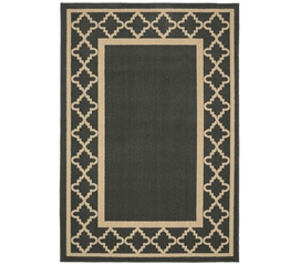 Moroccan Frame Dorm Rug - Gray and Tan Dorm Essentials College Supplies Dorm Room Decorations