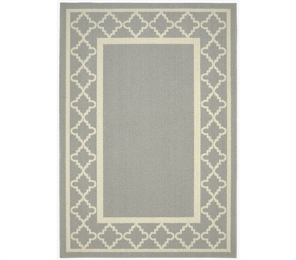 Moroccan Frame Dorm Rug - Silver and Ivory Dorm Essentials Dorm Room Decorations