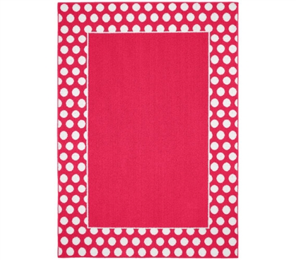 Polka Dot Frame Dorm Rug - Pink and White College Rug Dorm Essentials