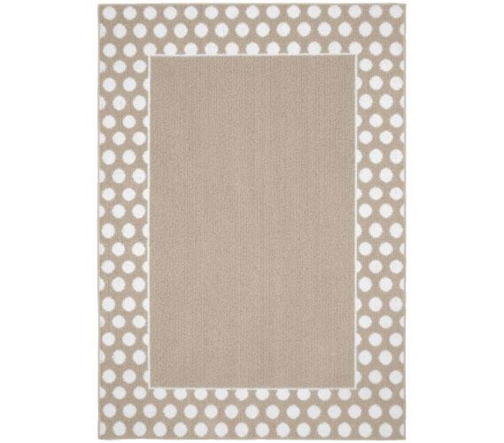 Polka Dot Frame Dorm Rug - Tan and White