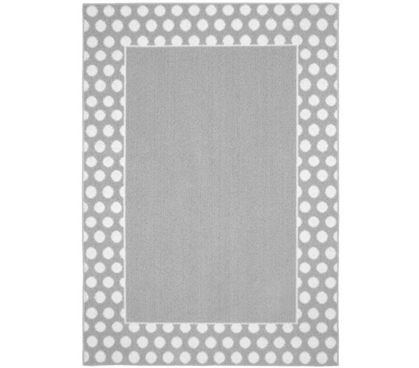 Polka Dot Frame Dorm Rug - Silver and White College Rug Dorm Room Decor