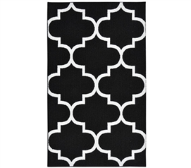 Quatrefoil Large Dorm Rug - Black and White College Rugs Dorm Room Decorations