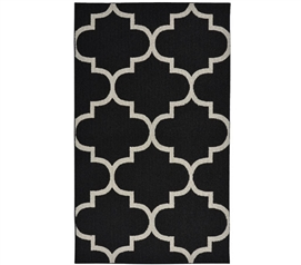 Quatrefoil Large Dorm Rug - Black and Silver Dorm Essentials Dorm Room Decorations