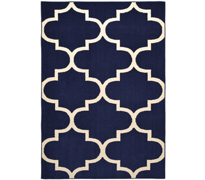 Quatrefoil Large Dorm Rug - Indigo and Ivory College Rug Dorm Room Decorations