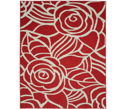 Rhapsody Dorm Rug - Coral and Ivory College Rug Dorm Room Decorations Dorm Room Decor