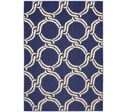 Rope Dorm Rug - Indigo and Ivory - 5' x 7' College Supplies Dorm Room Decorations Dorm Room Decor