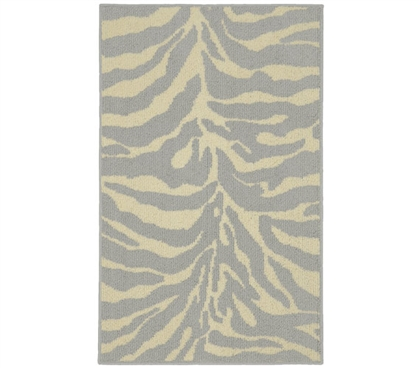 Safari Dorm Rug - Silver and Ivory