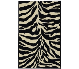 Safari Dorm Rug - Black and Ivory