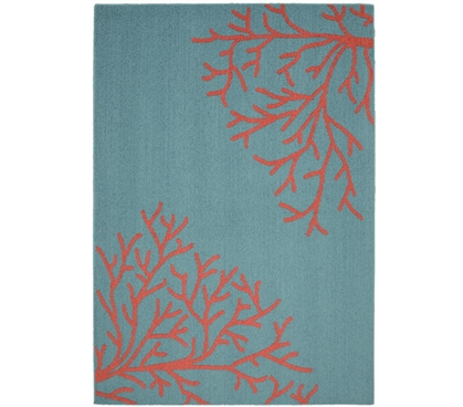 Sea Coral Dorm Rug - Teal and Coral - 5' x 7'