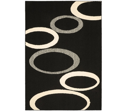 Soho Dorm Rug - Black and Ivory - 5' x 7'