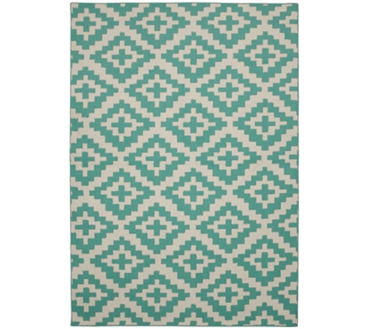 Southwest College Rug - Teal and Ivory