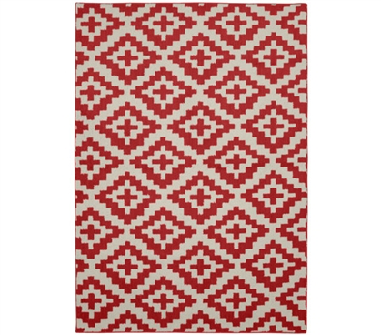 Southwest College Rug - Chili Red and Ivory