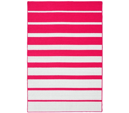 Stair Steps College Rug - Pink and White - 5' x 7.5' College Supplies Dorm Room Decorations
