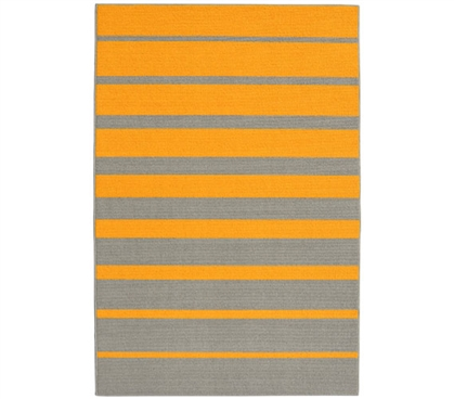 Stair Steps College Rug - Yellow and Silver - 5' x 7.5'