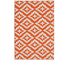Southwest College Rug - Orange and White Dorm Essentials Dorm Room Decor