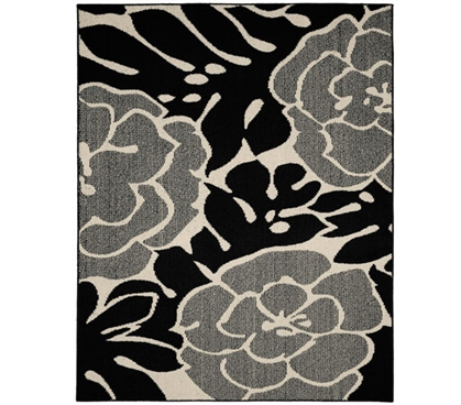 Valencia Dorm Rug - Black and Ivory - 5' x 7'