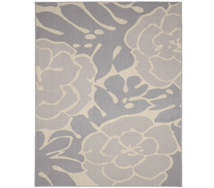 Valencia Dorm Rug - Silver and Ivory - 5' x 7'