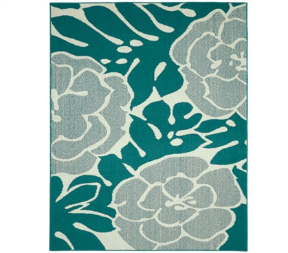 Valencia Dorm Rug - Teal and Ivory - 5' x 7'