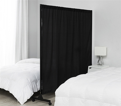 Unique Dorm Furniture Don't Look At Me Essential College Expandable Privacy Room Divider Black Frame with Casters