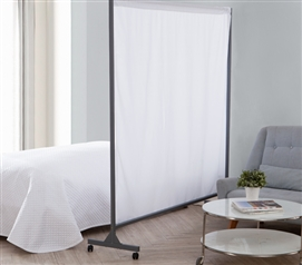 Privacy Room Divider White Fabric