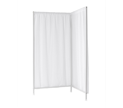 Essential L-Shaped Dorm Room Divider Don't Look At Me Durable Metal White Frame with Lockable Casters
