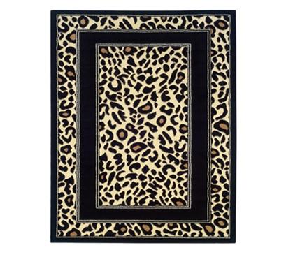 Black Border Leopard Print Dorm Rug College Decorating
