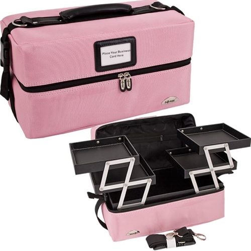 makeup organizer bag college cosmetic soft sided pink 13076