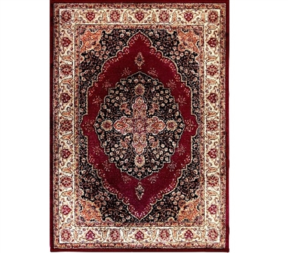Victorian Ivory Dorm Rug - Ivory and Red Dorm Essentials Dorm Room Decorations