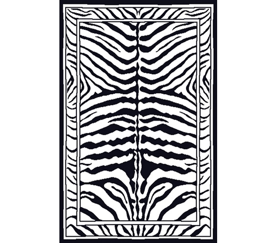 Black & White Zebra Print Decorative Dorm Rug