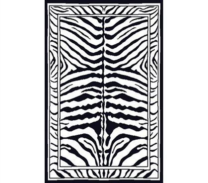 Black & White Zebra Print Decorative Dorm Rug College Essentials