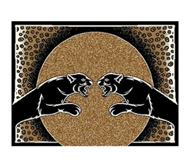 Classic Growling Panther Face-Off Dorm Room Rug College Dorm Essentials