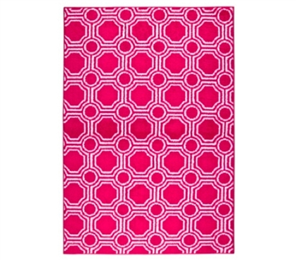Decorate Your Dorm Room - Mosaic Circle College Rug - Pink and White - Essential Dorm Decor