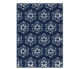 Cheap College Rugs - Hearts Blossom Rug - Navy and White - Great For Dorms