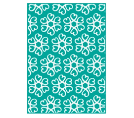 Decorate Your Dorm Room - Hearts Blossom Rug - Teal and White - Great College Decor