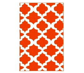 Classic Design - Quatrefoil College Rug - Orange and White - Great Orange, Eye-Catching Color