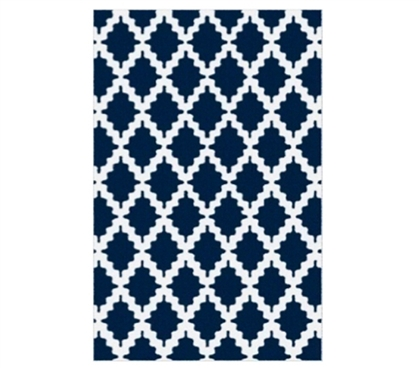 Rugs Provide Personality - Trella Stitch Dorm Rug - Navy and White - Add Cool Dorm Stuff