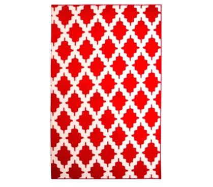 Shop For Dorm Stuff - Trella Stitch Dorm Rug - Red and White - Best Supply For College Students