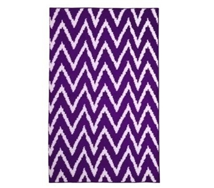 Add Character And Color - Wavy Chevron Dorm Rug - Purple and White - Useful Decor For Dorms