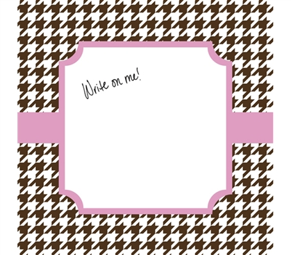 Cute Dorm Wall Decor -Canvas Kudos - Signable Wall Canvas - Houndstooth Brown And Light Pink Design