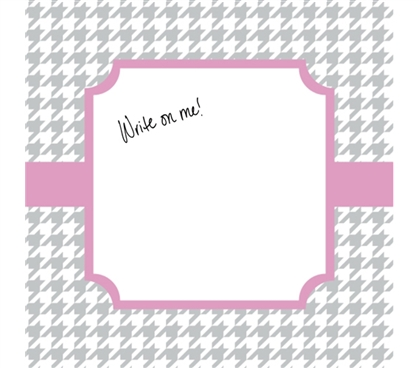 Unique Dorm Decor - Canvas Kudos - Signable Wall Canvas - Houndstooth Gray And Light Pink Design