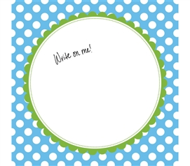 College Decor for Girls - Canvas Kudos - Signable Wall Canvas - Scallop Circle Light Blue And Green
